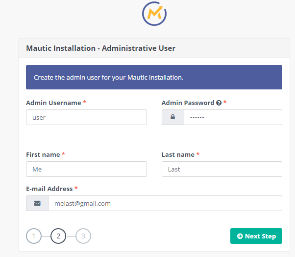Mautic Admin User Setup