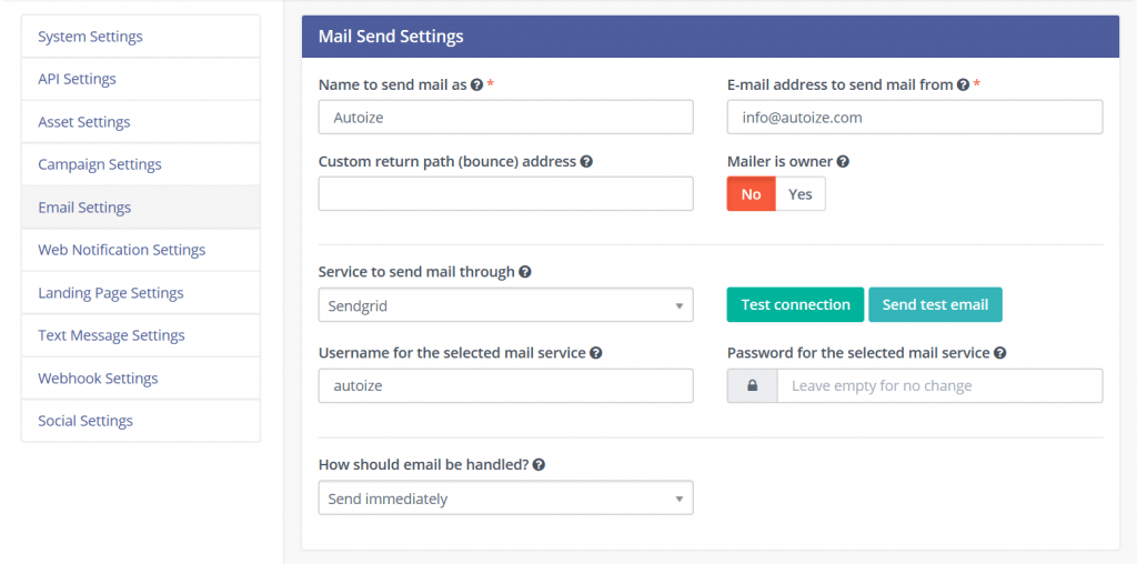 Mautic Email Settings Menu