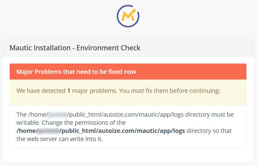 Mautic Installer Error - /app/logs