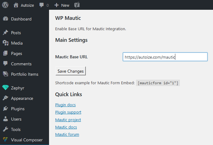 WordPress Mautic Plugin