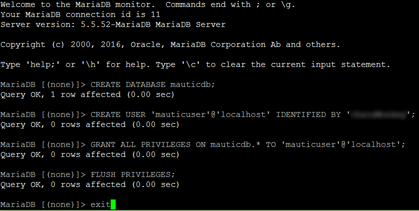 Creating a new database and user in MariaDB