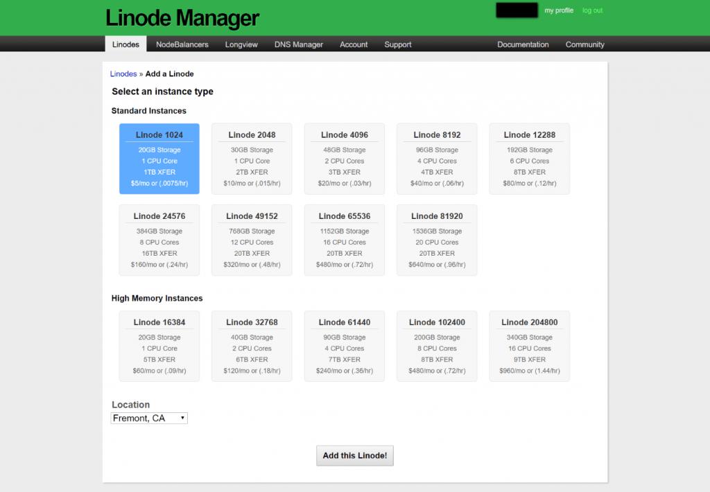 Linode Manager Dashboard