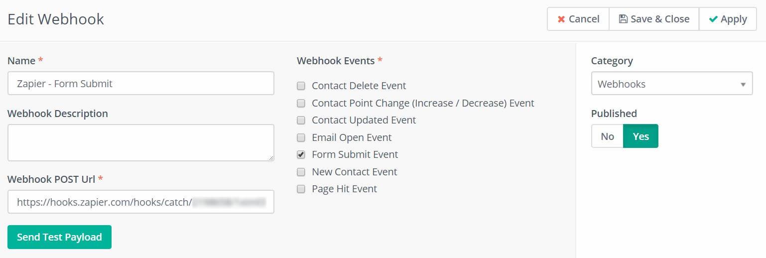 Create Mautic webhook for Zapier Integration