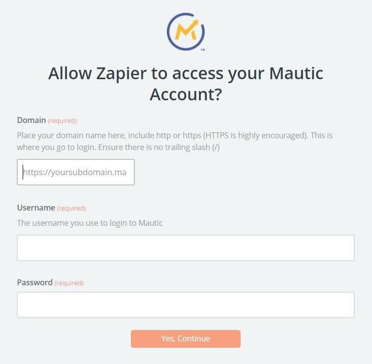 Mautic Zapier OAuth Popup