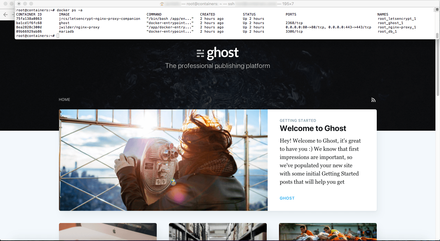 Ghost running in Docker
