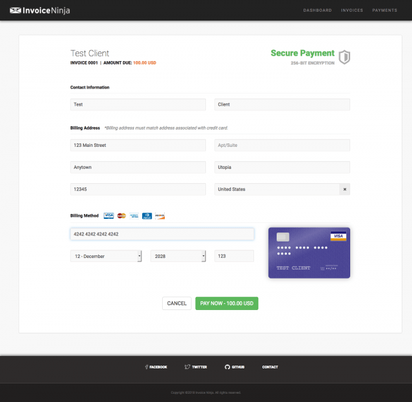 InvoiceNinja invoice payment with Stripe