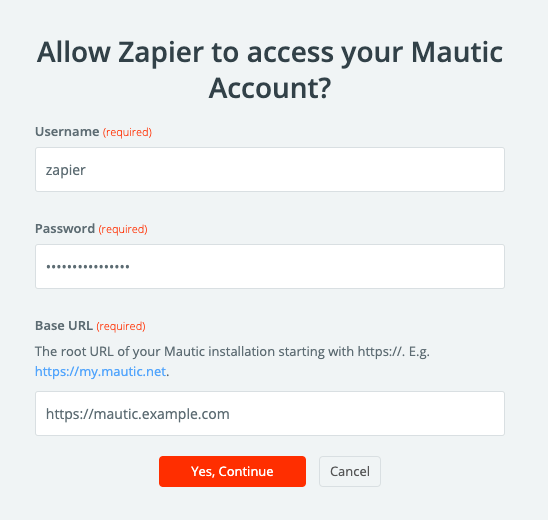 Authorize Mautic API on Zapier