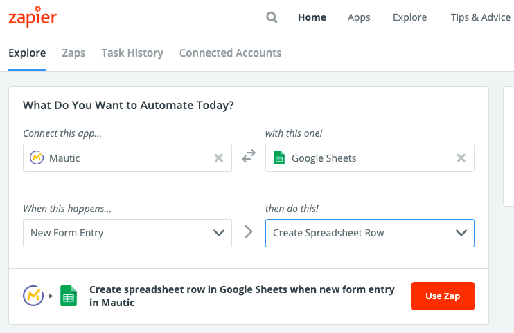 Create Mautic to Google Sheets Zapier Zap