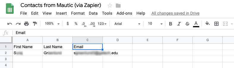 Zapier Google Sheet with Contact Data