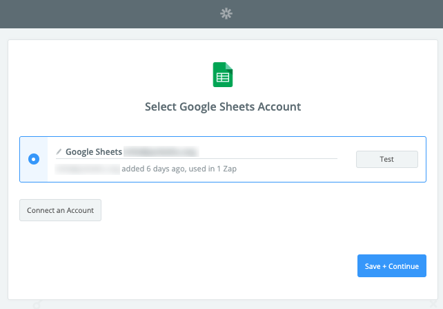 Zapier Select Google Sheets Account