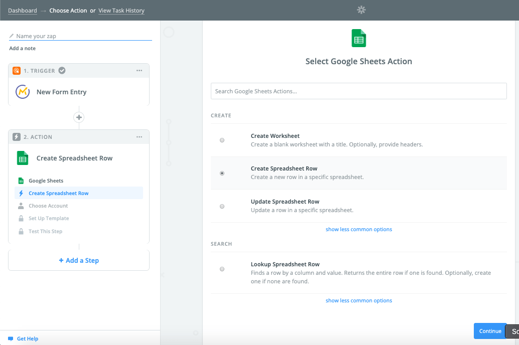 Zapier Select Google Sheets Action