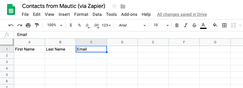 Zapier blank Google spreadsheet with column headers
