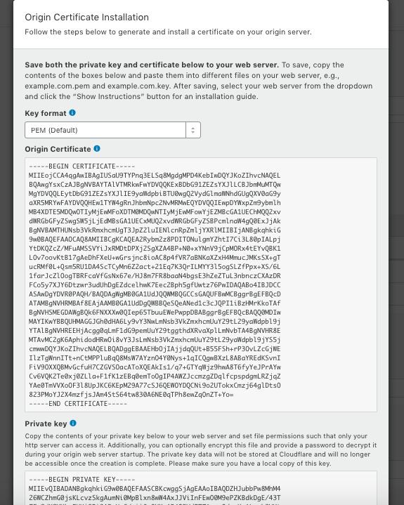 CloudFlare Origin Certificate Output