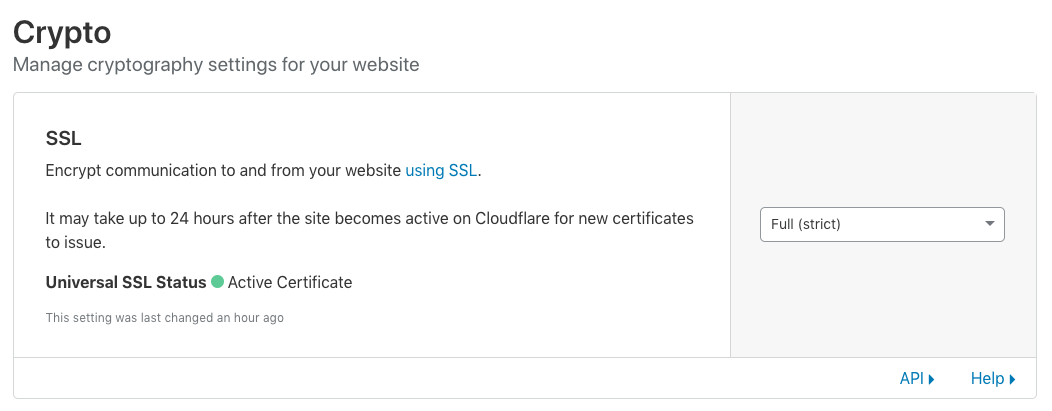 Enable Full (strict) SSL setting in CloudFlare