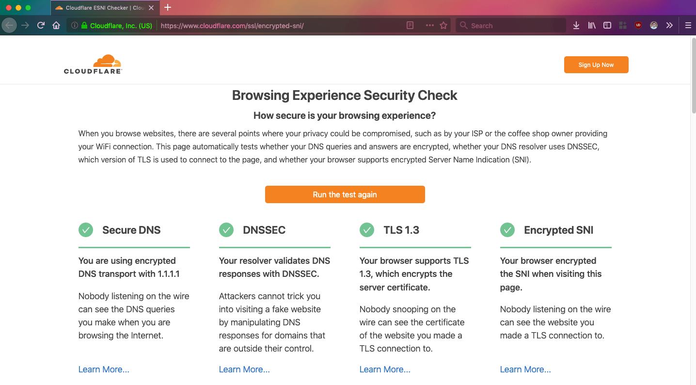 CloudFlare DNS - Browsing Experience Security Check
