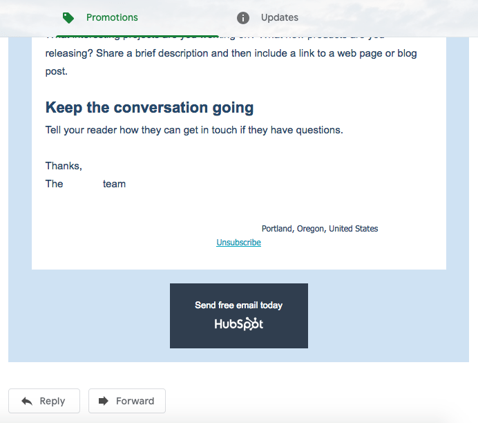 Example of an email sent using HubSpot Marketing Hub Free