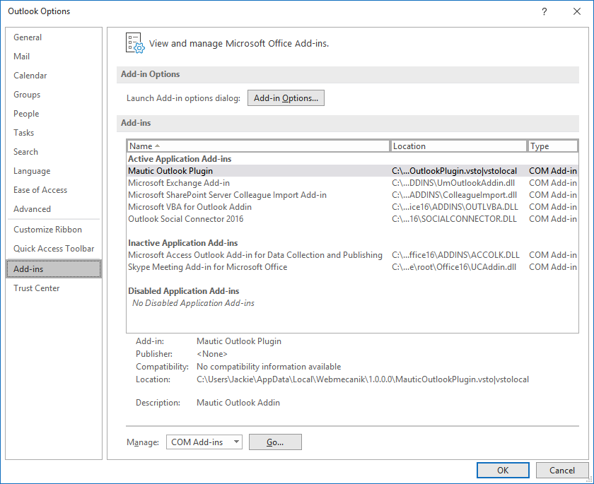 Outlook Options - Add-ins List