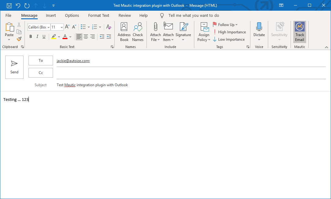 Outlook Track Email with Mautic