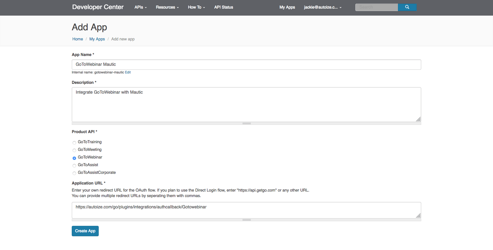 GoTo Developer - Create New App