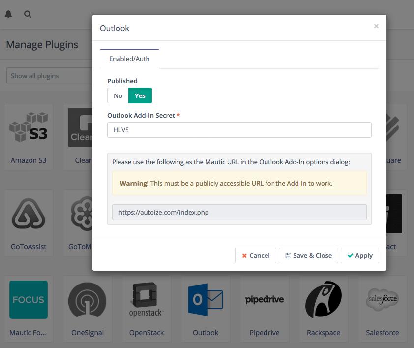 Mautic Outlook Plugin settings