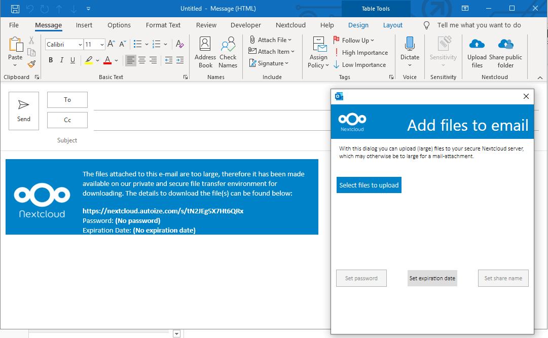 "NextCloud Outlook Add-in ""Upload Files"" option"