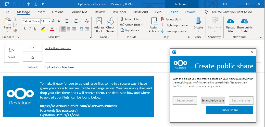 "NextCloud Outlook Add-in ""Public Share"" option"