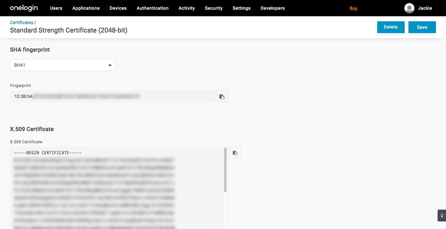 OneLogin NextCloud Integration - X.509 Certificate