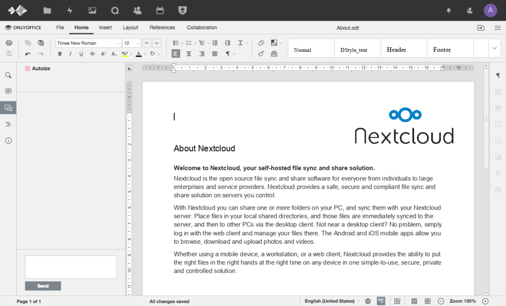 OnlyOffice connector for NextCloud