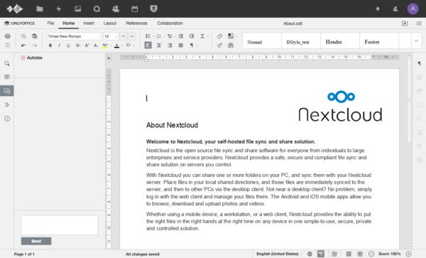 OnlyOffice connector for NextCloud screenshot
