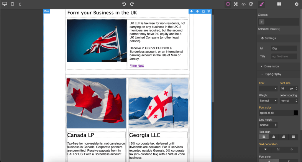 Mautic GrapesJS builder screenshot